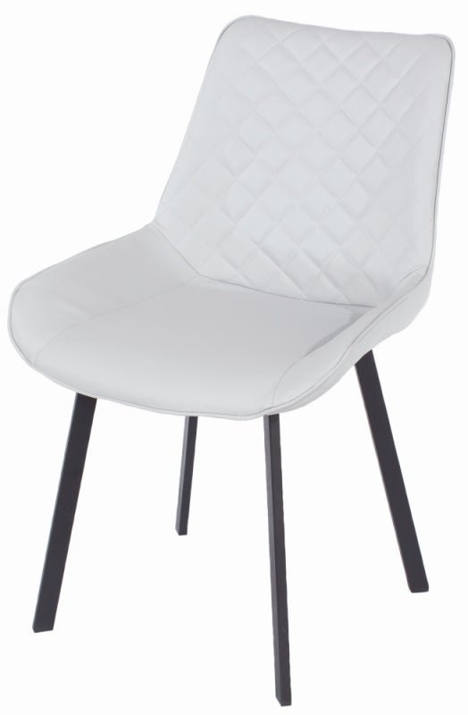 Aspen Grey Faux Leather Upholstered Dining Chair with Black Metal Legs (Pair)