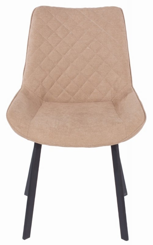 Aspen Sand Fabric Upholstered Dining Chair with Black Metal Legs (Pair)