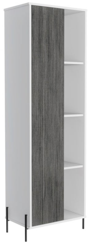 Dallas Tall Display Cabinet - White and Grey Oak Effect