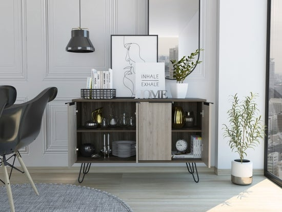 Nevada Large Sideboard with Hairpin Legs - Grey Oak Effect