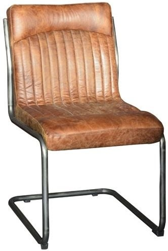 Carlton Additions Hipster Retro Vintage Brown Faux Leather Dining Chair (Pair)