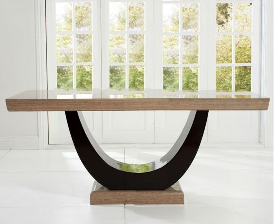 Mark Harris Rivilino Brown Marble Dining Table and 4 Valencie Chairs