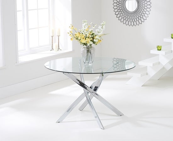 Mark Harris Daytona Glass Round Large Dining Table and 4 California Chairs - Chrome and White