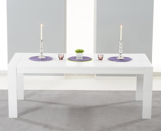 Mark Harris Venice White High Gloss Extending Dining Table and 6 Malibu Ivory Chairs