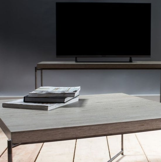 Stockwell Weathered Oak Top Square Coffee Table with Gun Metal Frame